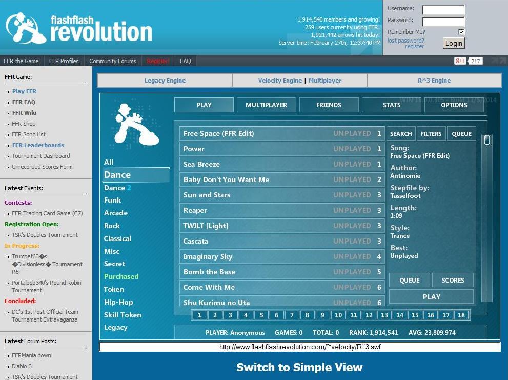 Lied von Flash Flash Revolution auswählen für die MaKey MaKey Tanzmatte
