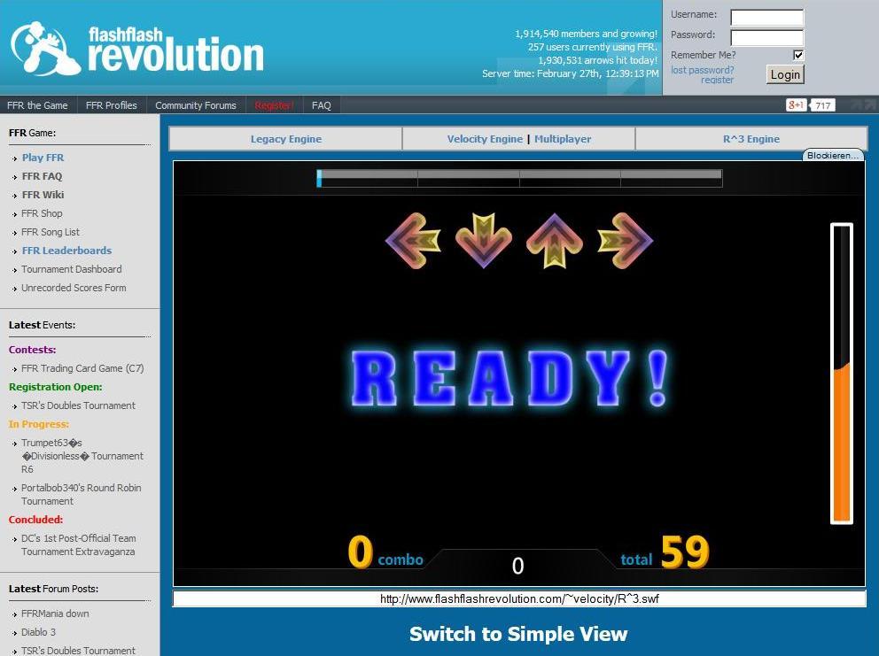 Flash Flash Revolution-Spielbildschirm für die MaKey MaKey Tanzmatte