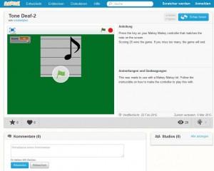 """Der Startbildschirm des """"Klavier lernen""""-Spiels für Klavier lernen mit MaKey MaKey"""