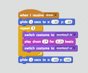 Das Skript, damit der Affe die Trommel schlägt
