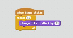 Das Skript, damit die Bühne die Farbe wechselt