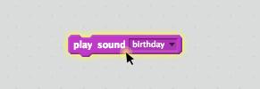 """Der """"spiele Klang birthday""""-Block"""