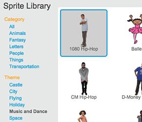 Die Tanzfiguren der Scratch-Figurenbibliothek