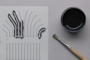 Schablone für elektrisch leitfähige Farbe